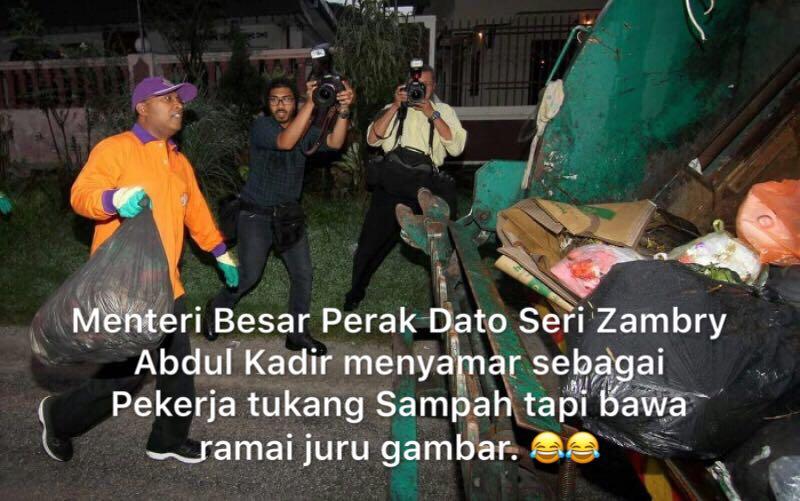 Menteri Besar Perak dinasihati mementingkan kebajikan pekerja kerajaan, bukan menyamar menjadi pekerja buang sampah