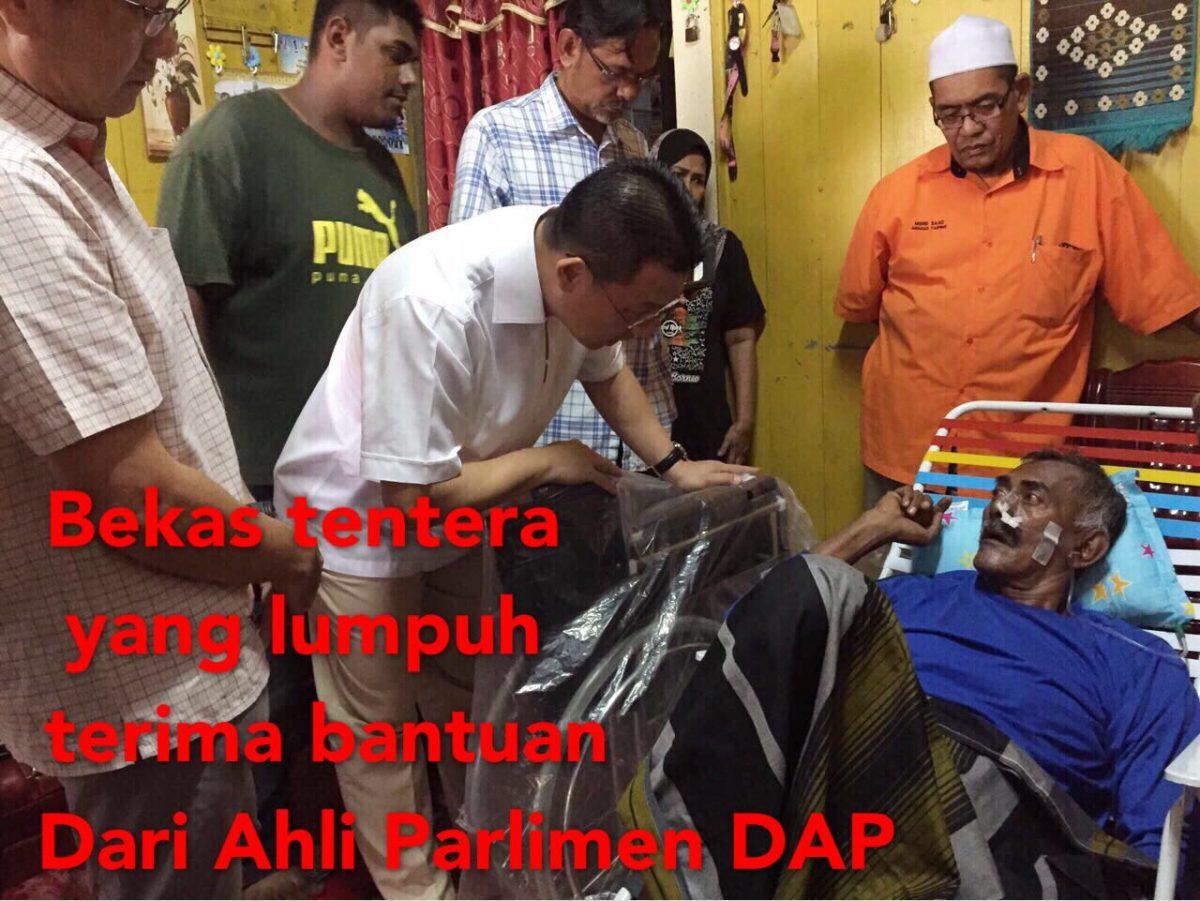 Bekas tentera yang lumpuh terima bantuan Dari Ahli Parlimen DAP