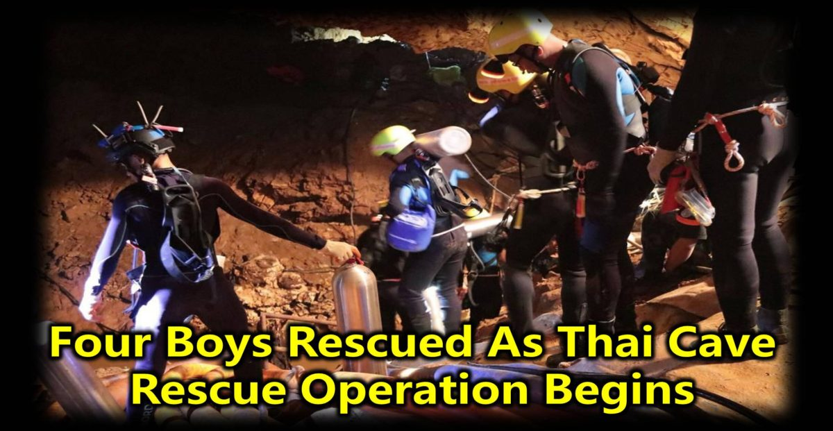 Four Boys Rescued As Thai Cave Rescue Operation Begins