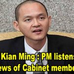 Dr Ong Kian Ming : PM listens to the views of Cabinet members
