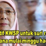 Insentif KWSP untuk suri rumah dilaksana mulai minggu hadapan