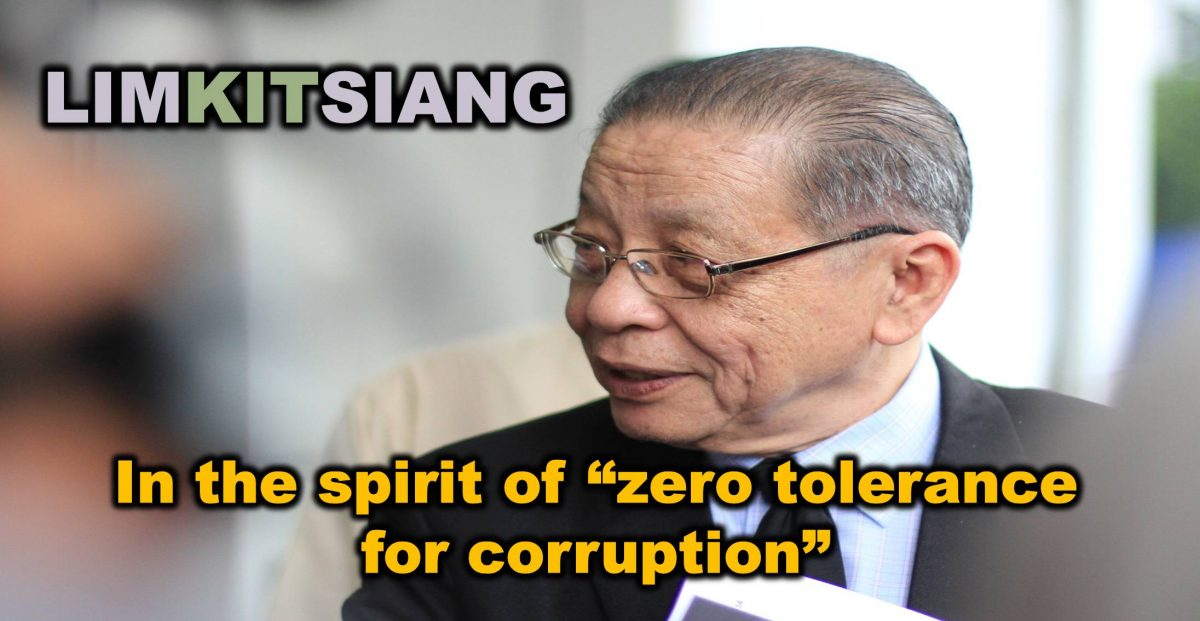 """LIMKITSIANG : In the spirit of """"zero tolerance for corruption"""""""