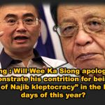 """Kit Siang : Will Wee Ka Siong apologise and demonstrate his contrition for being an """"enabler of Najib kleptocracy"""" in the last three days of this year?"""
