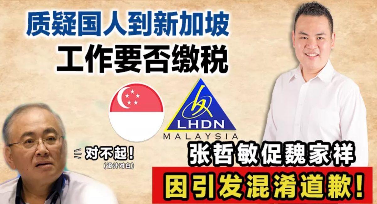 质疑国人到新加坡工作要否缴税,张哲敏促魏家祥因引发混淆道歉!