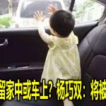 把小孩独留家中或车上?杨巧双:将被法律对付